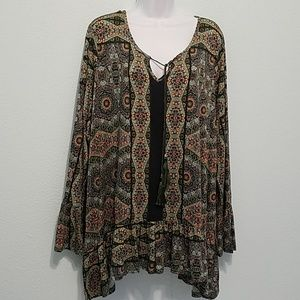 One World Size 3X Long Sleeves Top Blouse  Raffles